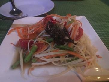 Seltsame Krabbe am Papayasalat - Ayutthaya